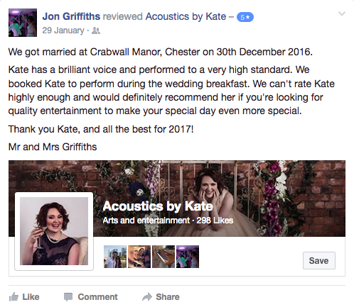 We got married at Crabwall Manor, Chester on 30th December 2016. Kate has a brilliant voice and performed to a very high standard. We booked Kate to perform during the wedding breakfast. We can't rate Kate highly enough and would definitely recommend her if you're looking for quality entertainment to make your special day even more special. Thank you Kate, and all the best for 2017! Mr and Mrs Griffiths